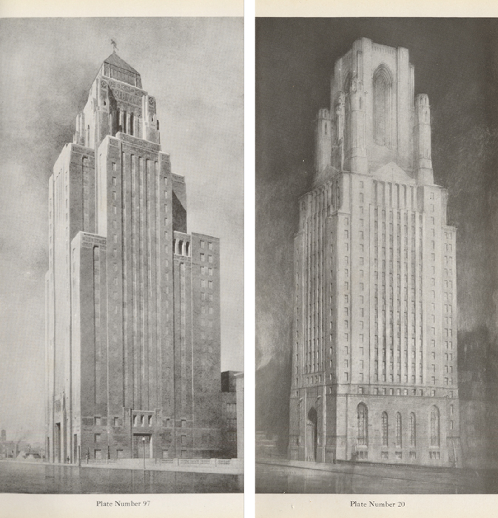 Plate 97: Bertram Goodhue (NYC) Plate 20: Third Prize, Holabird & Roche (Chicago)