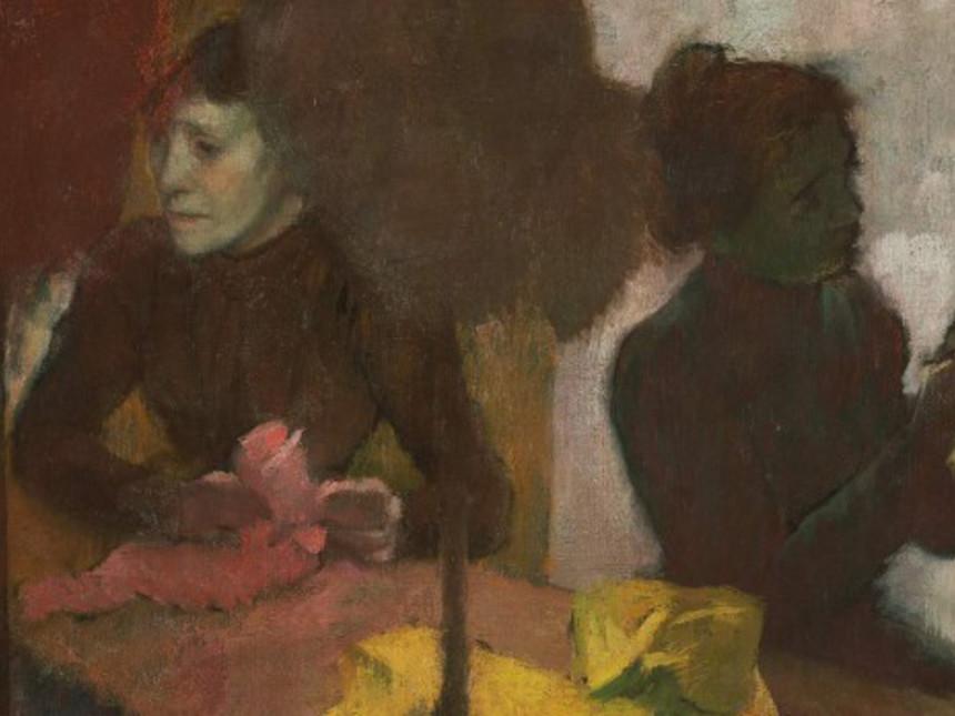 El pintor le quitó todos los ornamentos del traje y antepuso los sombreros  después de pintar ese rostro misterioso. a1a54cecc81